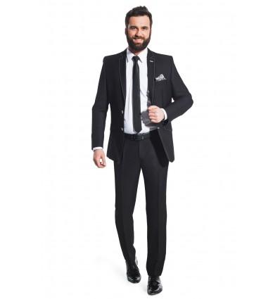 Czarny garnitur z białym stebnowaniem